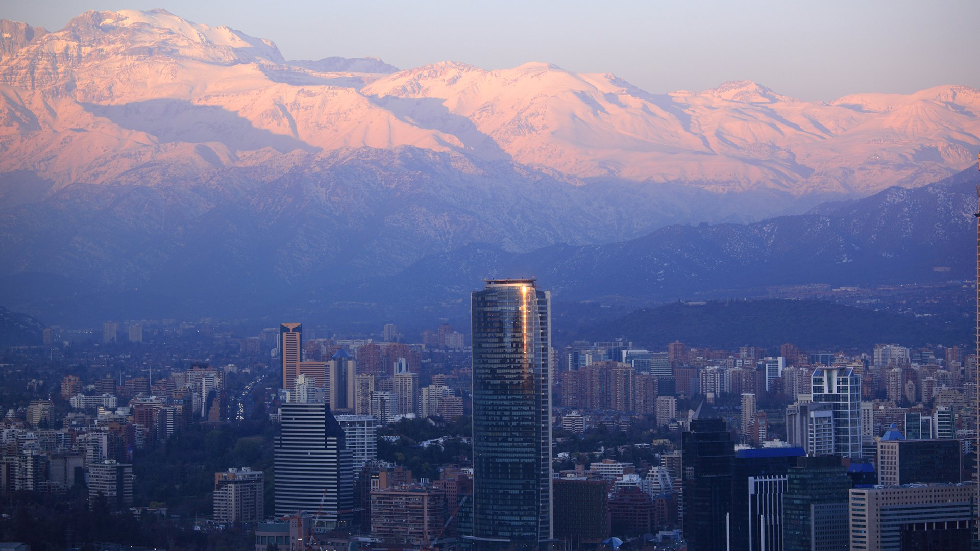 Skiing in Chile - Santiago at Dusk