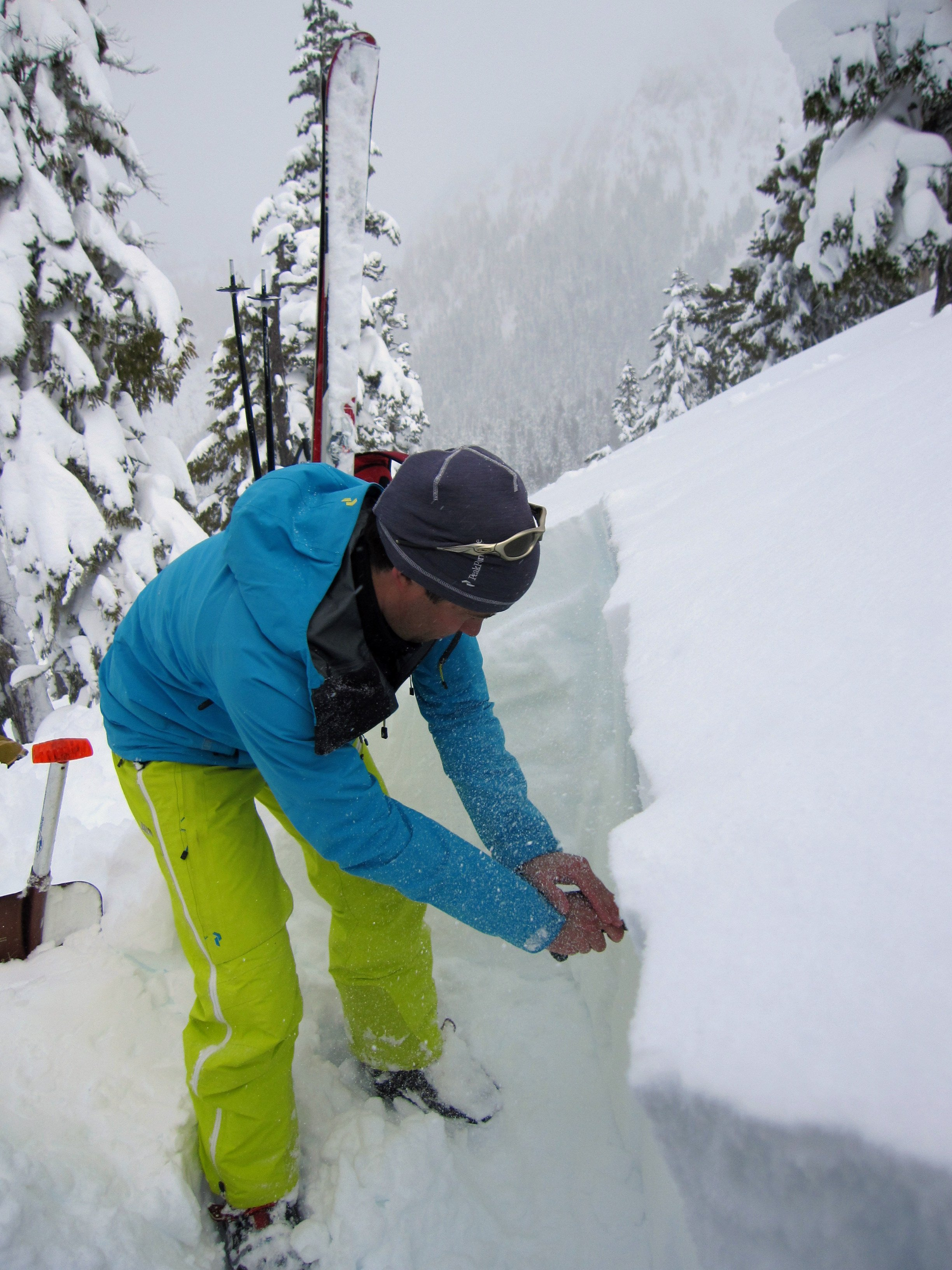 Checking out the snow pack on the Avalanche Safety Training level 2
